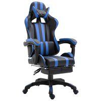 vidaXL Chaise de jeu avec repose-pied Bleu Similicuir