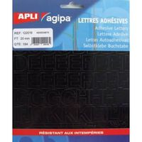 Alphabet et symboles Autocollant 20 x 18 mm Noir - APLI AGIPA