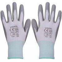 vidaXL Gants de travail PU 24 paires Blanc et gris Taille 8/M