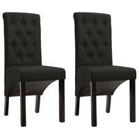 vidaXL Chaises de salle à manger 2 pcs Noir Tissu