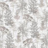 Evergreen Papier peint Trees Blanc et gris