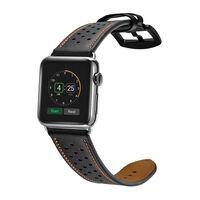 Bracelet Apple Watch, cuir véritable 38 mm noir / orange