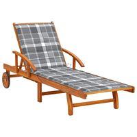 vidaXL Chaise longue de jardin avec coussin Bois d'acacia solide