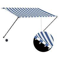vidaXL Auvent rétractable avec LED 250x150 cm Bleu et blanc