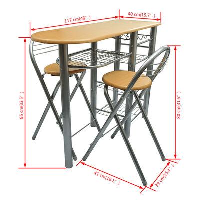 vidaXL Ensemble de table et de chaises de bar / cuisine Bois