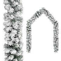 vidaXL Guirlande de Noël avec neige floquée Vert 20 m PVC