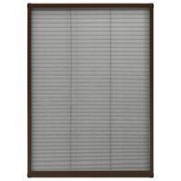 vidaXL Moustiquaire plissée pour fenêtre Aluminium Marron 80x120 cm