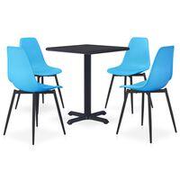 vidaXL Ensemble de salle à manger d'extérieur 5 pcs Métal et PP Bleu