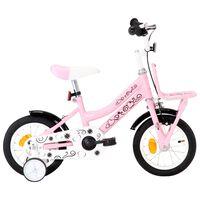 vidaXL Vélo d'enfant avec porte-bagages avant 12 pouces Blanc et rose