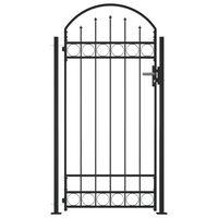 vidaXL Portail de clôture à dessus arqué et 2 poteaux 105x204 cm Noir