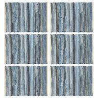 vidaXL Napperons 6 pcs Chindi Denim Bleu 30 x 45 cm Coton