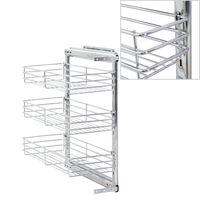 vidaXL Panier à 3 niveaux métallique de cuisine 47x25x56 cm