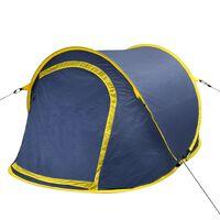 Tente de camping escamotable 2 personnes Bleu marine/Jaune