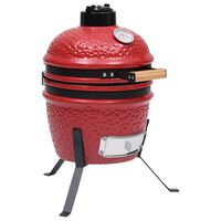 vidaXL Barbecue à fumoir Kamado 2-en-1 Céramique 56 cm Rouge