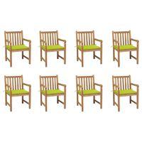 vidaXL Chaises de jardin 8 pcs avec coussins vert vif Bois de teck