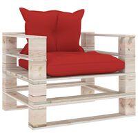 vidaXL Canapé palette de jardin avec coussins rouge Bois de pin