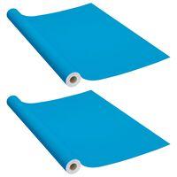 vidaXL Films autoadhésifs pour meubles 2 pcs Azuré 500x90 cm PVC