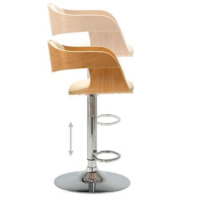 vidaXL Chaise de bar Crème Bois courbé et similicuir