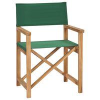 vidaXL Chaise pliable de metteur en scène Bois de teck solide Vert