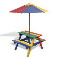vidaXL Table et bancs de pique-nique avec parasol pour enfants Bois
