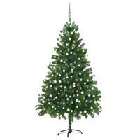 vidaXL Arbre de Noël artificiel avec LED et boules 210 cm Vert