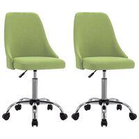 vidaXL Chaises de bureau roulantes 2 pcs Vert Tissu