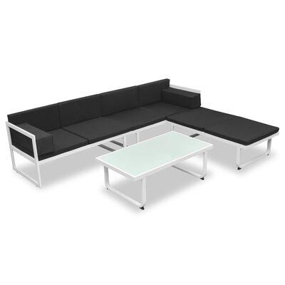 vidaXL Salon de jardin 4 pcs et coussins Aluminium Noir