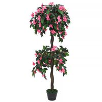 vidaXL Plante artificielle de Rhododendron avec pot 155cm Vert et rose