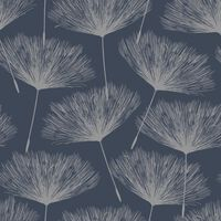 DUTCH WALLCOVERINGS Papier peint Fleur Bleu marine et gris