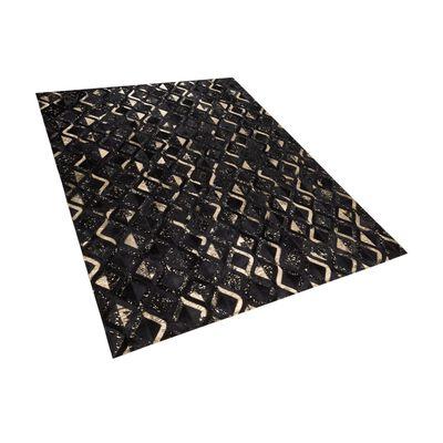 Tapis Noir Et Doré Au Motif Géométrique 160 X 230 Cm Develi