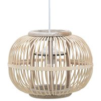 vidaXL Lampe suspendue Blanc Osier 40 W 30x22 cm Globe E27
