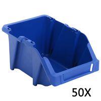 vidaXL Bac de rangement empilable 50 pcs 200x300x130 mm Bleu