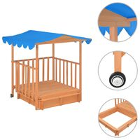 vidaXL Maison de jeu d'enfants et bac à sable Bois de sapin Bleu UV50