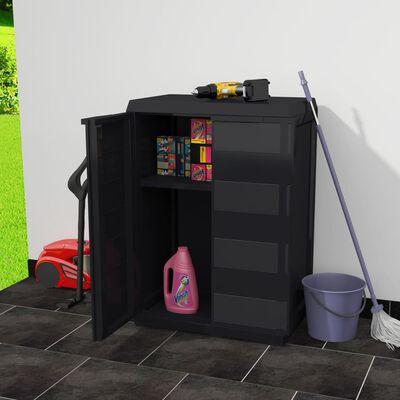 vidaXL Armoire de rangement de jardin avec 1 étagère Noir