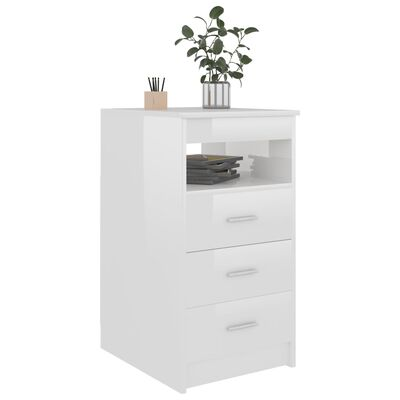 vidaXL Armoire à tiroirs Blanc brillant 40x50x76 cm Aggloméré