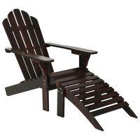 vidaXL Chaise de jardin avec pouf Bois Marron