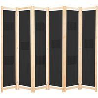 vidaXL Cloison de séparation 6 panneaux Noir 240 x 170 x 4 cm Tissu
