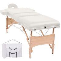 vidaXL Table de massage pliable à 3 zones 10 cm d'épaisseur Blanc