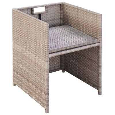 vidaXL Salon de jardin encastrable avec coussins 9 pcs Rotin Beige,