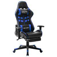 vidaXL Chaise de jeu avec repose-pied Noir et bleu Cuir artificiel
