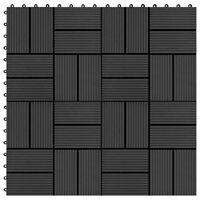 vidaXL Carreaux de terrasse 22 pcs 30 x 30 cm 2 m² WPC Noir
