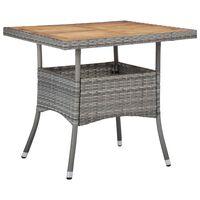 vidaXL Table d'extérieur Gris Résine tressée et bois d'acacia solide