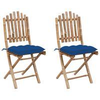 vidaXL Chaises pliables de jardin 2 pcs avec coussins Bambou