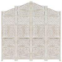 vidaXL Cloison de séparation 4 panneaux Blanc 160x165 cm Bois manguier