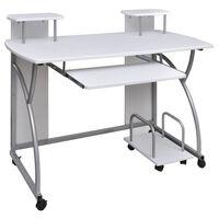 vidaXL Bureau d'ordinateur avec plateau à clavier coulissant Blanc