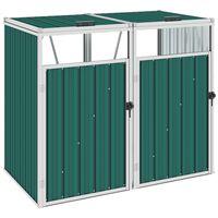 vidaXL Abri de poubelle double Vert 143x81x121 cm Acier
