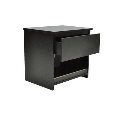 vidaXL Table de chevet 2 pcs avec 1 tiroir Noir