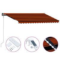 vidaXL Auvent rétractable capteur de vent LED 450x300 cm Orange marron