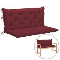 vidaXL Coussin de balancelle Rouge bordeaux 120 cm Tissu