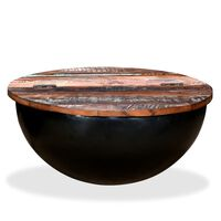 vidaXL Table basse Bois de récupération massif Noir Forme de bol